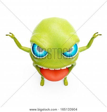 cartoon 3d slime monster scares raising his hands. 3d illustration