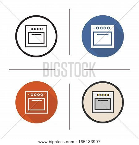 Stove icon. Flat design, linear and color styles. Gas cooker. Oven. Isolated vector illustrations