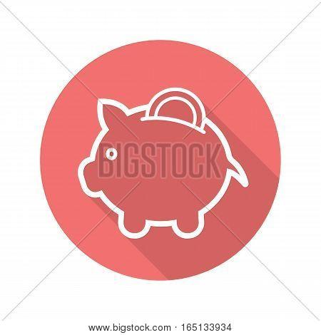 Piggybank flat linear long shadow icon. Piggy bank with coin. Vector line symbol