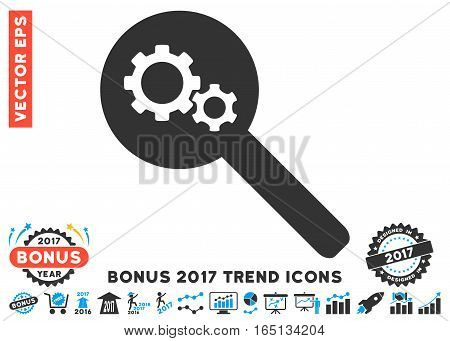 Blue And Gray Search Gears Tool icon with bonus 2017 year trend pictures. Vector illustration style is flat iconic bicolor symbols white background.