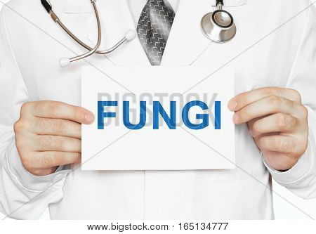 Doctor Holding A Card With Fungi, Medical Concept