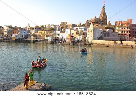 DWARKA, GUJARAT, INDIA - DECEMBER 26, 2013: View of Dwarkadhish temple
