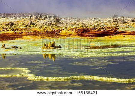 Colorful volcano Dallol in Danakil dessert, Ethiopia