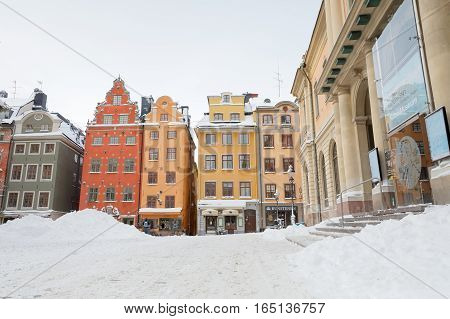 STOCKHOLM - JAN 08 2017: Main square in the medieval city Old Town in Stockholm during winter. January 08 2017 in Stockholm Sweden