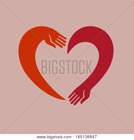 Vector image of the heart of the two hands