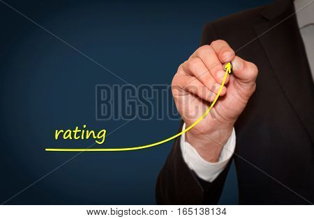 Businessman draw growing line symbolize growing rating