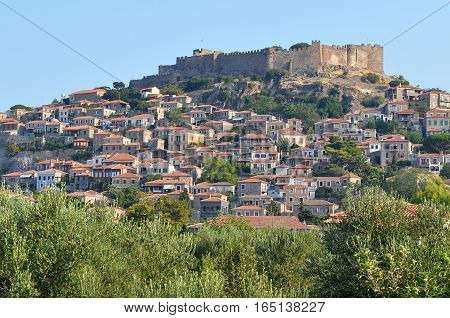 Molyvos castle on island Lesbos in Greece