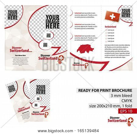 Brochure Design Template Discover Switzerland. Ready for Print 3 mm Bleed. Flayer Leaflet Booklet Template. Vector Illustration.