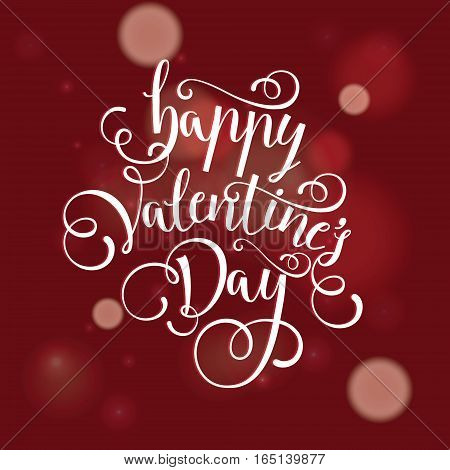 heart and love vector postcard for Valentine's day.Valentine's day vector illustration of lettering by hand happy Valentines day greeting card background beautiful red heart love Valentine