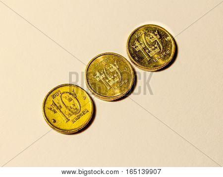 Three Swedish coins of ten golden crownes