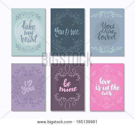 Collection of romantic and love cards with hand drawn elements textures, vignettes and handwritten lettering. Valentine s Day or wedding backgrounds. Vector illustration.