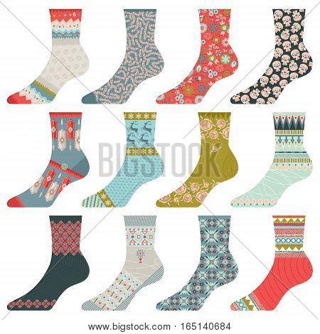 Set of 12 various multi-colored socks. Fabric design. Vector illustrations