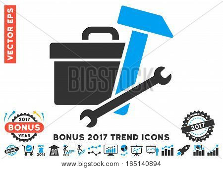 Blue And Gray Toolbox pictograph with bonus 2017 trend elements. Vector illustration style is flat iconic bicolor symbols white background.