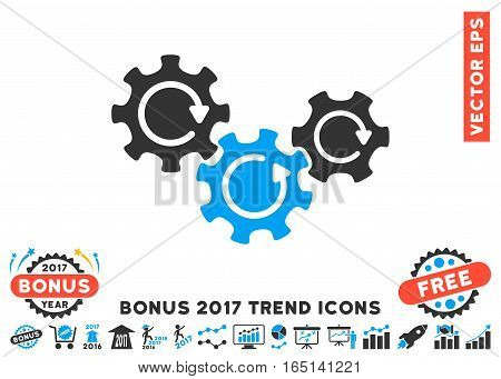 Blue And Gray Transmission Gears Rotation pictograph with bonus 2017 trend pictures. Vector illustration style is flat iconic bicolor symbols white background.