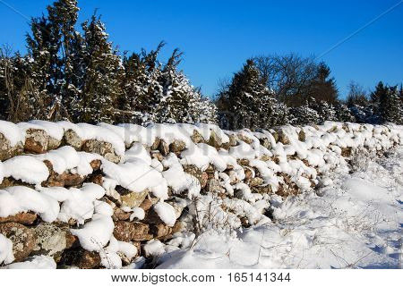 Sunlit old stone wall in a swedish countryside