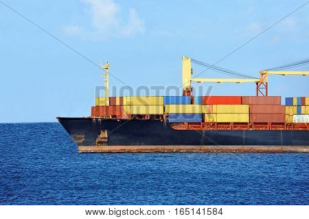 Container Stack On Freight Ship