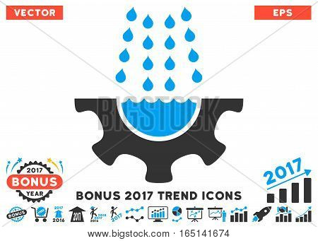 Blue And Gray Water Shower Service Gear pictograph with bonus 2017 trend pictograph collection. Vector illustration style is flat iconic bicolor symbols white background.