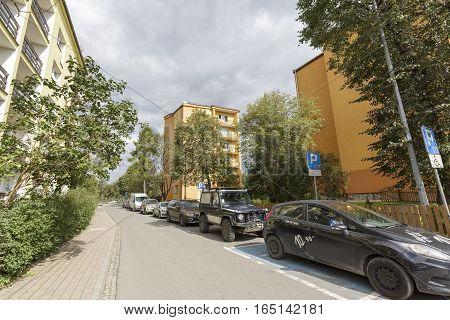 ZAKOPANE POLAND - SEPTEMBER 23 2016: Multi-family residential buildings was built on a side street in the downtown.