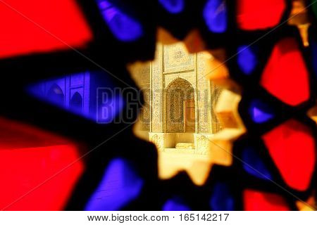 Iran Shiraz - september 2016: Mosque Nasir al Mulk taken through the stained glass. Persia.