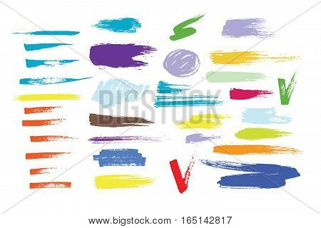Vector large set of different grunge brush strokes. Ink art texture dirty abstract design collection. Creative splash stain element hand drawn paintbrush.