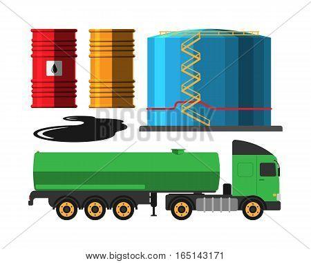 Set of oil industry production transportation extracting cartoon icons vector illustration. Energy processing platform. Petroleum truck technology design.