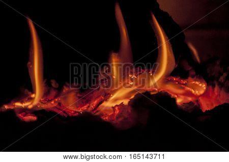 log is burning in fireplace, warm, heat, fire