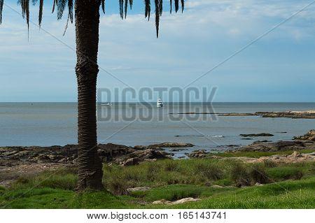 boat sailing towards the coast in Uruguay
