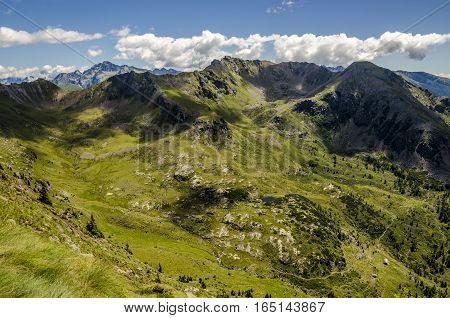 scenic landscape of italian alps during summer with glacial lake