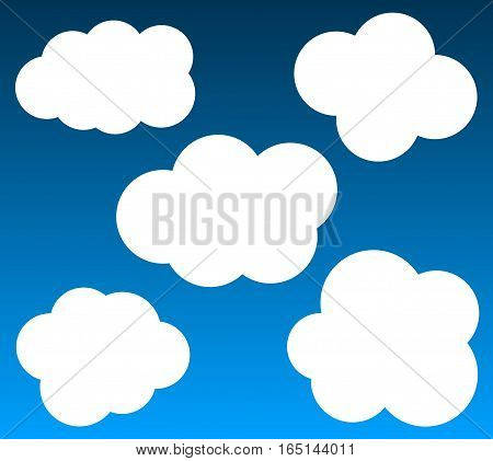 Cloud vector icons set isolated over gradient background cartoon vector clouds set