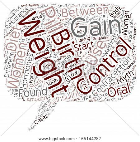 Birth Control and Weight Gain Truth or Myth text background wordcloud concept
