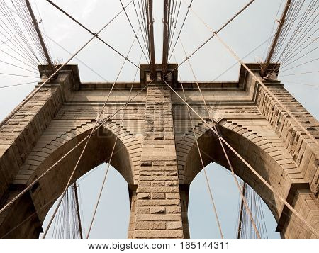 Worms eye view of the two arches on the Brooklyn Bridge. Manhattan NYC