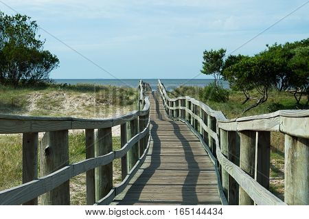 wooden path to the beach in Montevideo, Uruguay