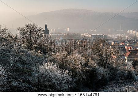 Der Frost Wintermorgen einhüllend die Bäume vom Raureif und dem Nebel.