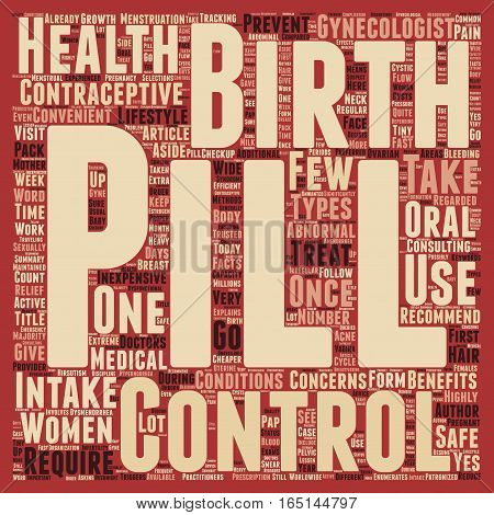 Birth Control Pill Health Benefits and Lifestyle Concerns text background wordcloud concept