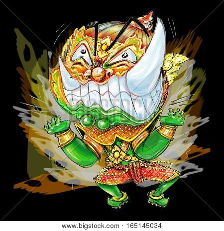 Thai Giant Cartoon acting pressure frantic bulge and power boom graphic Character design and freehand pencil sketch background isolate white background.