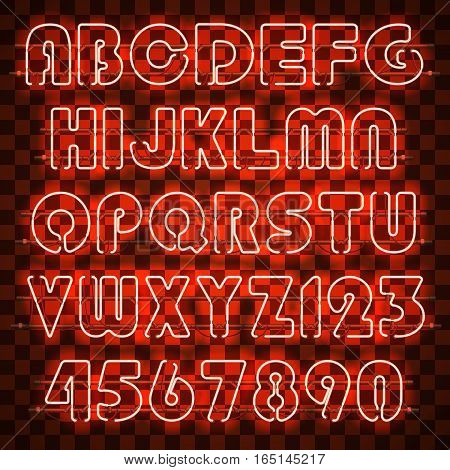 Glowing orange neon alphabet with letters from A to Z and digits from 0 to 9. Glowing neon effect. Every letter is separate unit with wires, tubes and holders and can be combined with other