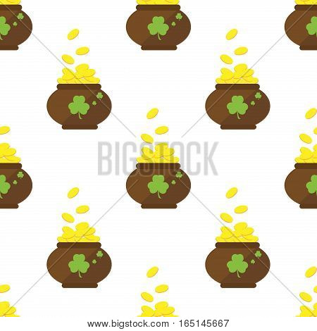 Seamless pattern with a pot of gold four-leaf clover and dollar sign. Pattern for St. Patrick's Day. Vector illustration pot with coins pattern. Traditional march culture ireland luck background.
