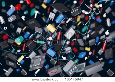 3D render of a variety of electronic components on a dark background