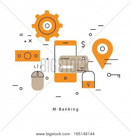 Mobile payment flat line business vector illustration design banner. Concepts for online payment, online shopping, bank wire transfer, money transfer with smartphone for mobile and web graphics