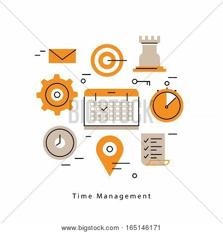 Time and business management, planning events, calendar, organization flat line business vector illustration design banner. Time control and optimization concept for mobile and web graphics