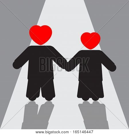 boy and girl - silhouettes with red hearts and shadows on the way