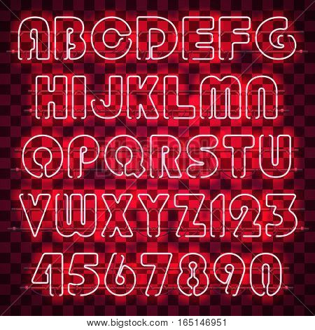 Glowing red alphabet with letters from A to Z and digits from 0 to 9. Glowing neon effect. Every letter is separate unit with wires, tubes and holders and can be combined with other.