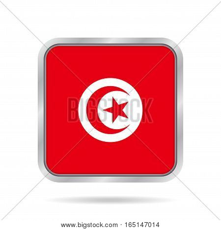 National flag of Tunisia. Shiny metallic gray square button with shadow.