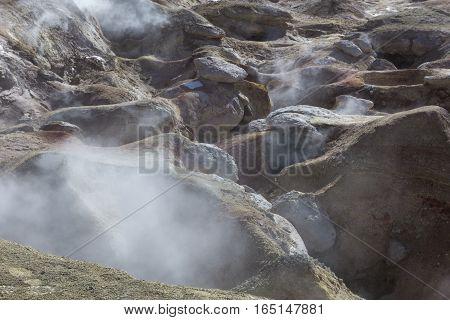 Geyser (geothermal Area) Sol De Manana In Eduardo Avaroa National Reserve - Altiplano, Bolivia, Sout