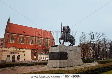 Wroclaw, Poland - December 14, 2016: Evening Wroclaw. Boleslaw I the Brave in Wroclaw