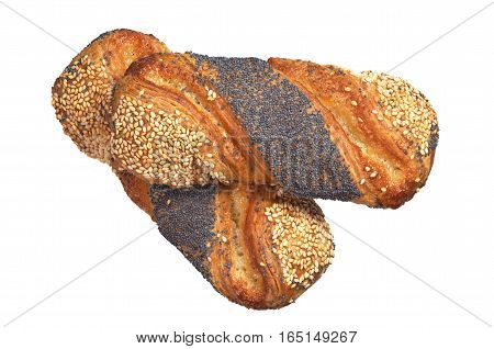 Buns with jam sesame and poppy seeds isolated on a white background