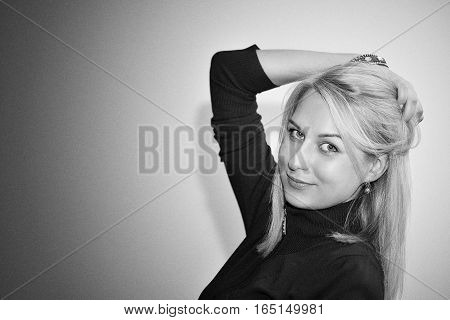 black and white portrait of good beautiful young girl