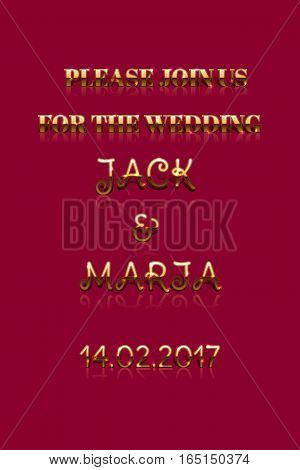 Invitation Card Or Announcement For Wedding. Vector Drawn.