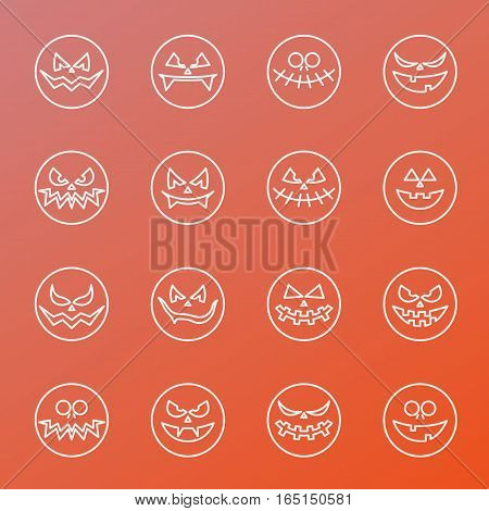 Halloween Icons smiles. Emoticon vector illustration set