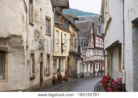 The central street of the medieval village of  Enkirch situated on the  Moselle river, Germany